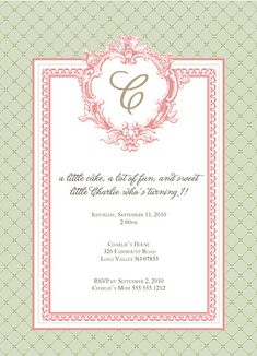 """i like the wording on this invite - """"a little cake, a lot of fun, and sweet little QUINN who's turning 1!"""""""