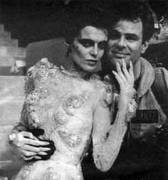 Slavitza Jovan and Dan Aykroyd on the set of Ghostbusters