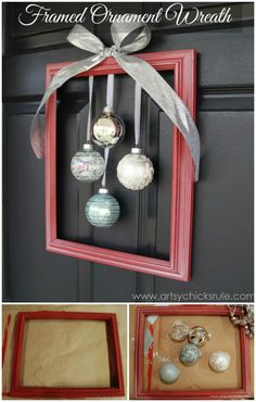 Glittery ornaments are the most important part of Christmas decorations and if we hang them in a picture frame then it will be created a framed ornament wreath. It will look so gorgeous and beautiful and impress the visitors of your home. The project is not too much expensive and not too much time-consuming.