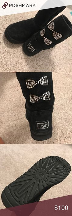 Ugg Australia boots A perfect black boot with a couple of gems to bring out the girly side in you. Only worn a few times. A few gems missing but not noticeable. UGG Shoes Winter & Rain Boots