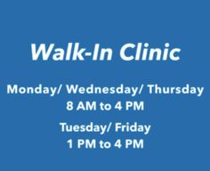Our Walk-In Clinic Will Be Available October 2!