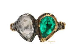 Georgian emerald and diamond twin heart ring, circa 1740.