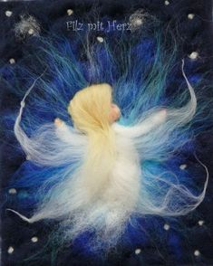 Wollbilder Engel, Bild Engel, handgefertigte Bilder aus Merinowolle Filz mit Herz