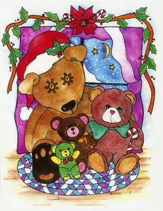 Holiday Bears ... Beautiful colorful Teddy Bear by BlueHeartStudio