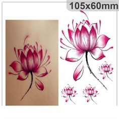 3D Waterproof Temporary Tattoos - Flower Red Lotus (4 in a set) by tattooforeverybody on Etsy