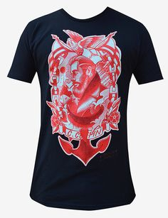 Anchors Away Tee 100% Cotton Black Shirt with Front image in Red & White Made in the USA - By: Lowbrow Art Company - Artist: Charlie Coffin