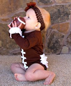 Brown Football Ruffle Long-Sleeve Bodysuit - Infant Daily deals for moms, babies and kids My Little Girl, Little Babies, Cute Babies, Lila Baby, Paisley, Scarlett, Charlotte, Everything Baby, Baby Kind