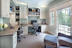 Gray Home Office Design Ideas with a built-in desk and Shelves