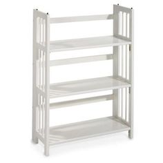 Home Decorators Collection 38 in. H x 27.5 in. W White Folding and Stacking 3-Shelf Bookcase-3323210410 at The Home Depot
