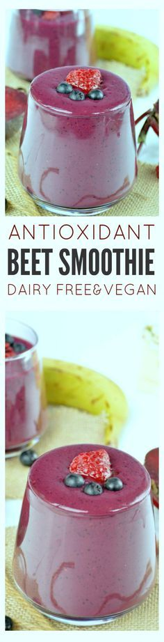 This 5-ingredients Beet Smoothie is full of antioxidants & an INCREDIBLE healthy meal replacement. Dairy free & clean eating drink!