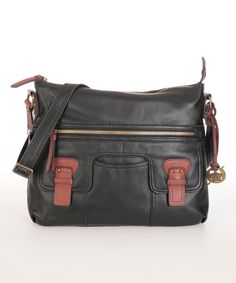 This Black Bellingham Large Leather Crossbody Bag by Børn is perfect! #zulilyfinds