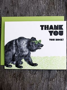Gorgeous Stationary for Holiday Thank You Notes: You Rock, $4.50, Greenwich Letterpress.