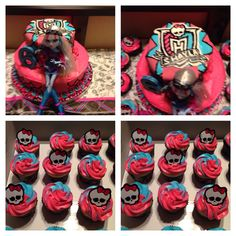 Monster High birthday cake & cupcakes
