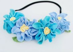 Flower crown blue floral head band fairy halo headband garland on Etsy, $24.00