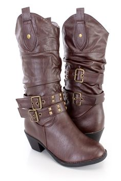 These stylish cowboy style boots feature a faux leather upper with a slouchy shaft, strappy design with studded detailing and buckle accents, almond shaped closed toe, slip on design, smooth lining, and cushioned footbed. Approximately 2 inch heels, 14 inch circumference, and 10 inch shaft.http://www.amiclubwear.com/shoes.html