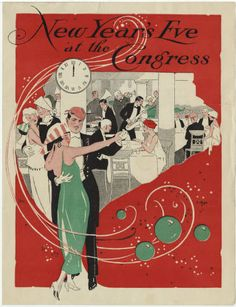 """Ringing in 1924 at the Congress in Chicago. From the UNLV Libraries """"Menus: The Art of Dining"""" digital collection."""