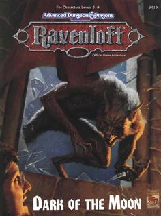 Dark of the Moon (2e) - Ravenloft | Book cover and interior art for Advanced Dungeons and Dragons 2.0 - Advanced Dungeons & Dragons, D&D, DND, AD&D, ADND, 2nd Edition, 2nd Ed., 2.0, 2E, OSRIC, OSR, d20, fantasy, Roleplaying Game, Role Playing Game, RPG, Wizards of the Coast, WotC, TSR Inc. | Create your own roleplaying game books w/ RPG Bard: www.rpgbard.com | Not Trusty Sword art: click artwork for source