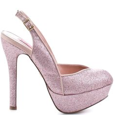 Feel like a fairytale princess in this glittery slingback from Betsey Johnson.  Dizzyy has a blush glitter upper with a V-cut vamp and 1 3/4 inch platform.  You'll meet your very own prince while standing tall in the 5 1/2 inch heel.