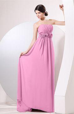 Pink Evening Dress - Elegant Empire Strapless Sleeveless Zip up Sweep Train