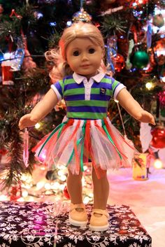 No-sewing machine needed -  Easy home made American Girl Doll Tutu!