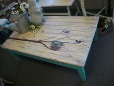 Super cute coffee table that has been hand painted in chalk paint - see this and more at Not 2 Shabby in Littleton, CO or visit website: not2shabby4you.weebly.com