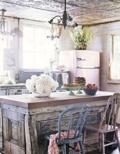 Shabby chic kitchen love the embossed tin ceiling!