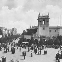 The Panama–California Exposition was held in Balboa Park from 1915 - 1917, celebrating the opening of the Panama Canal. It was meant to tout San Diego as the first U.S. port of call for ships traveling north after passing westward through the canal. Many of the pseudo-Spanish constructions continue today as charming museums, fountains, gardens, and galleries.