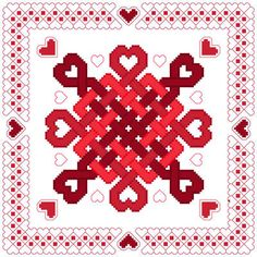 Hearts Abound cross stitch pattern.