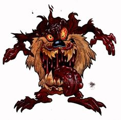 Yes Zombie Art Lovers, the hits just keep on coming! Today's Zombie Tasmanian Devil, or Zombie Taz is just another in the non stop parade of brand new Zombie Art Disney Horror, Horror Cartoon, Zombie Cartoon, Zombie Disney, Cartoon Art, New Zombie, Zombie Art, Don Diablo, Arte Horror
