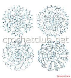 Crochet Diagram, Crochet Motif, Crochet Doilies, Crochet Stitches, Free Crochet, Crochet Flower Patterns, Crochet Flowers, Doily Art, Crochet Circles