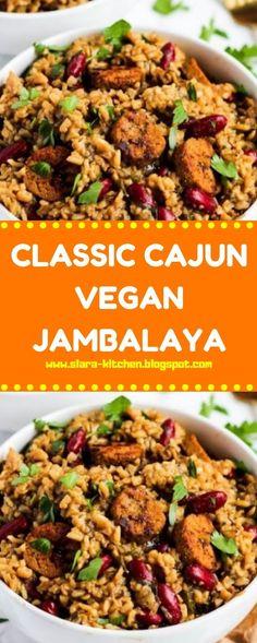 CLASSIC CAJUN VEGAN JAMBALAYA Creole Recipes, Cajun Recipes, Veggie Recipes, Vegetarian Recipes, Cooking Recipes, Healthy Recipes, Cajun Food, Detox Recipes, Healthy Eats