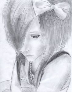 The sketch for girl | Emo Scene Girl Drawing by LuCkYrAiNdRoP