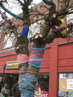 Yarn Bombing Graffiti Art So many people are trying to bring neighborhoods together by and wrapping their squares around trees intertwining with one another!