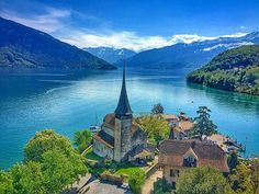 Spiez Castle on Lake Thun, Bernese Oberlander, Switzerland Switzerland Destinations, Lake Thun, Tyrol Austria, Journey, Swiss Alps, Medieval Castle, Oh The Places You'll Go, Far Away, Where To Go