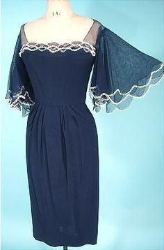 HOWARD GREER, Beverly Hills Navy Silk Chiffon Dress with Bell Sleeves