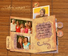 One of the inside page spreads from Love Notes Mini Book for My Aunt who was battling cancer. (Cosmo Cricket)  See more images in this album:  https://picasaweb.google.com/110695546779084486087/CheriSMiniAlbums#