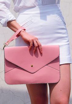 Oversize Vegan Leather Envelope Clutch - Light Pink Purse Bag Handbag - Women Ladies - Handmade