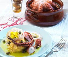 Diet Recipes, Healthy Recipes, Healthy Food, Mediterranean Recipes, Panna Cotta, Ethnic Recipes, Octopus, Healthy Foods, Dulce De Leche
