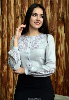 secretary blouse Buttons up Blouse hand stitched Embroidered Blouse, Ruffle Blouse, Lilac Grey, Secretary, Hand Stitching, Color Patterns, Stitch Patterns, Button Up, Elegant
