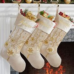 Yuletide Gold Jeweled Velvet Embroidered Stockings