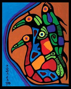 Norval Morrisseau Facts, Articles Art: Mystical Figure with Bird and Fish - Norval Morrisseau Native American Artwork, Native American Artists, Canadian Artists, Style Tribal, Kunst Der Aborigines, Native Canadian, Cultural Crafts, Woodland Art, Les Religions