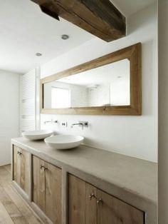 bathroom mortex with oak Bathroom Renos, Bathroom Renovations, Small Bathroom, White Bathrooms, Luxury Bathrooms, Master Bathrooms, Dream Bathrooms, Bathroom Faucets, Sinks