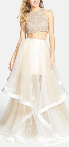 Pretty, very pretty organza maxi skirt! Terani Couture Beaded Top & Organza Two-Piece Ballgown Nude Dress, White Dress, Evening Dresses, Prom Dresses, Formal Dresses, Dress Prom, Beaded Dresses, Ceremony Dresses, Long Dresses