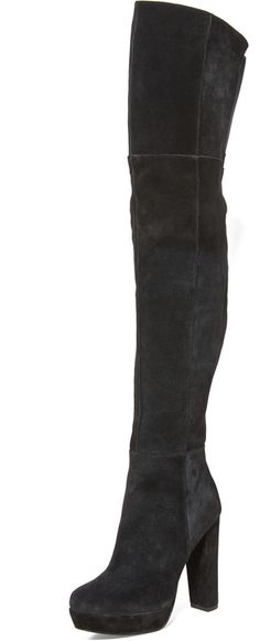 alice + olivia Halle Over the Knee Boots - Panels of suede lend a patchwork feel to these over-the-knee alice + olivia boots. A tonal elastic inset relaxes the top line, and an exposed zip secures the ankle. Covered heel and platform. Leather sole.      Leather: Cowhide.