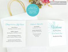 Beach Wedding Itinerary Accordion Fold Cards Destination Wedding