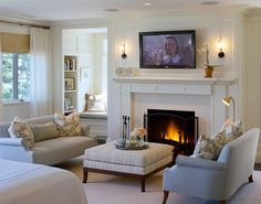 MAster bedroom with sitting area and fireplace  Marion Residence - traditional - bedroom - boston - by Catalano Architects