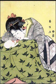 Woman, Cat, and Kotatsu Utagawa Kunimasa (1773-1810) Japanese Woodblock print (Ukiyō e) Museum of Fine Arts, Boston