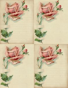 """Fair Perfect Rose"" ~ printable cards for notes or journaling, featuring a long-stemmed pink rose & buds."