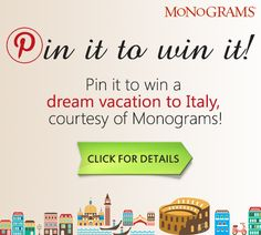Always dreamed of going to Italy—or going back? Now's your chance, courtesy of Budget Travel and Monograms! Click for a chance to win a week's vacation in Rome and Venice, including airfare, hotels and even the service of a Local Host. #monogramsvacation
