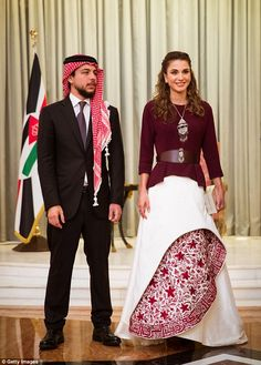 The Queen poses with her eldest son, Crown Prince Al Hussein, 21, who graduated earlier this week